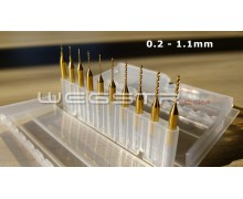 set 10 pcs 0.2 - 1.1 mm Drill Bits Tool - Titanium Nitride Coated
